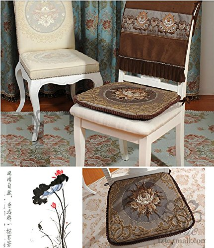 Sideli -2pc Classic Decorative Chair pad Seat Cushion with Memory Filling and 2 Belt for Fix 16''x16'' (2, peony-coffee) by Sideli (Image #1)