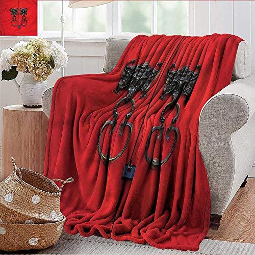 - Xaviera Doherty Luxury Flannel Fleece Blanket Rustic,Door Knocker on Vintage Door All Season Light Weight Living Room/Bedroom 70