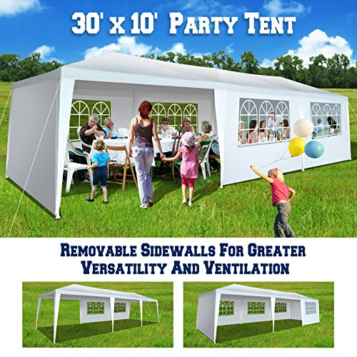 BenefitUSA 10'x30' Wedding Party Tent Outdoor Gazebo Pavilion Canopy Buffet Cater Event (With 8 Sidewalls) (Powder Springs Coating Palm)