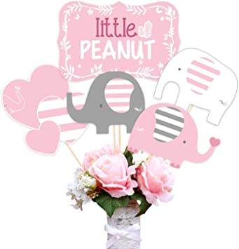 Kreatwow Baby Shower Elefante Suministros de decoración para niñas ...