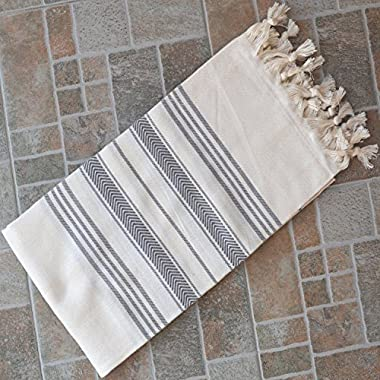 Natural & Gray Turkish Towel Peshtemal - 100% Natural Dyed Cotton - for Beach Spa Bath Swimming Pool Hammam Sauna Yoga Pilates Fitness Gym Picnic Blanket (Dandelion Textile)
