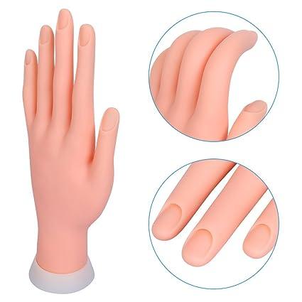 Mano para Practicar Uñas Mano Articulada Flexible Suave Manicura Expositor de Esmaltes sin Uñas de Clavuz