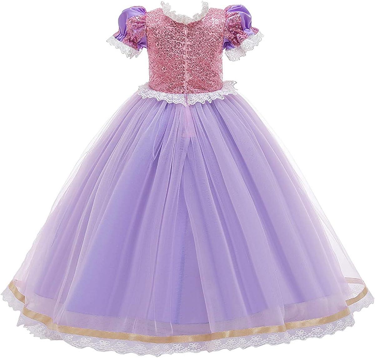MYRISAM Girls Sofia The First Rapunzel Princess Halloween Costume Fancy Party Cosplay Dress Up Fariy Tale Birthday Dress