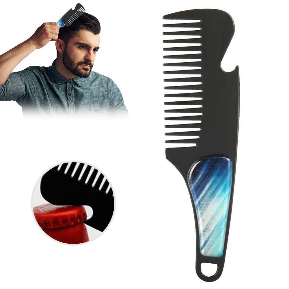 Peine de barba para hombres, acero inoxidable, peine de bigote con mango único en diseño de bolsillo y abrebotellas, para bigote y cabello(#4) Brrnoo