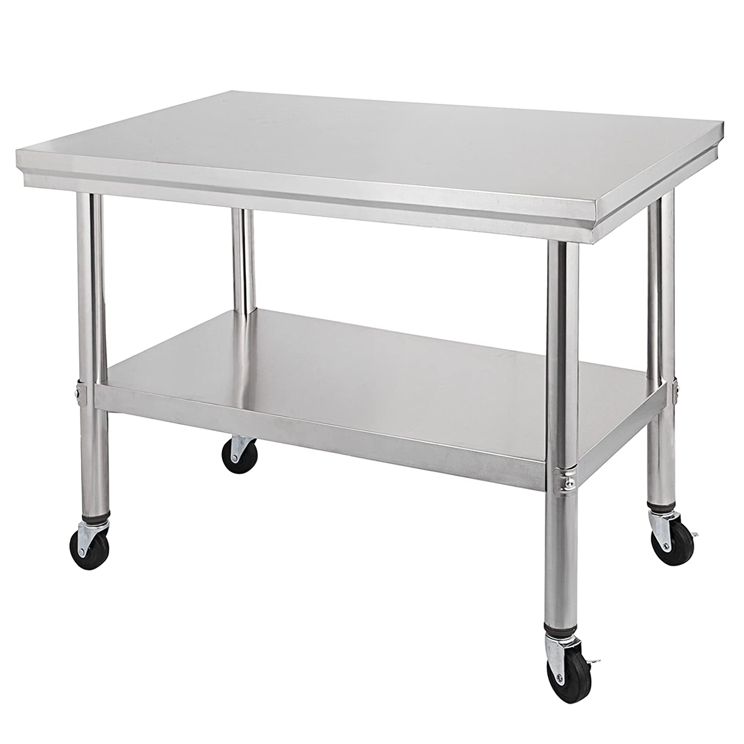 """Mophorn NSF Stainless Steel Work Table with Wheels 30x24 Prep Table with casters Heavy Duty Work Table for Commercial Kitchen Restaurant Business Garage (30""""x24"""")"""