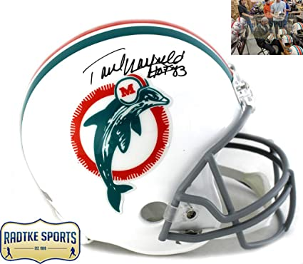 779fb3476 Paul Warfield Autographed Signed Miami Dolphins Riddell Throwback Full Size  NFL Helmet With quot HOF