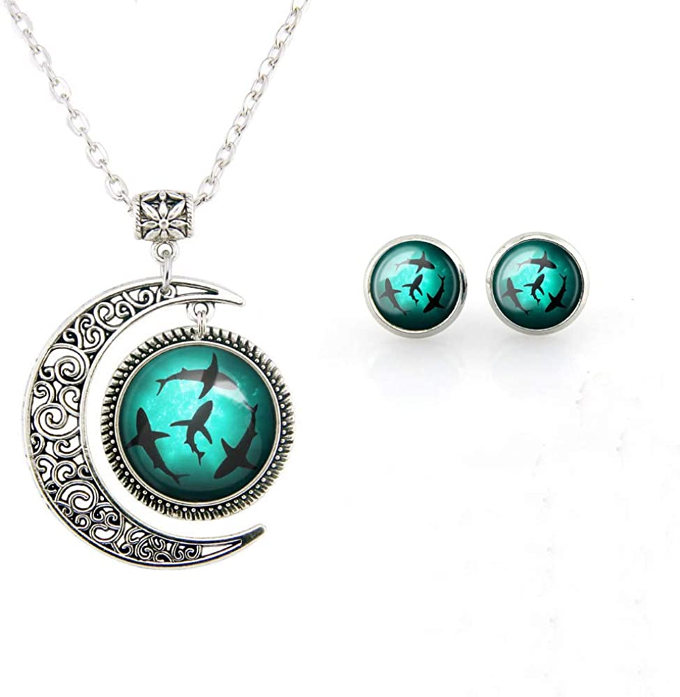 Blue Circling Sharks Stud Earrings and necklace Circling Sharks pendant for Women Fashion Jewelry set