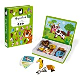 Janod MagnetiBook 41 pc Magnetic Animal Mix and Match Game for Creativity and Motor Skills - Book Shaped Travel/Storage…