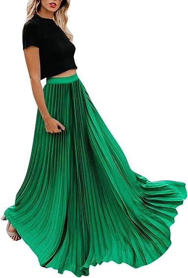 Amuster_Jupe en Chiffon Femme Jupe Longue Elégante Jupe Vintage Femme Jupe Boheme Tour de Taille Elastique Casual en Coton Dress Mariage Plage Haute