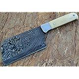 Limited Stock - RT-09, Handmade Damascus Steel Cleaver Knife – Bone Handle
