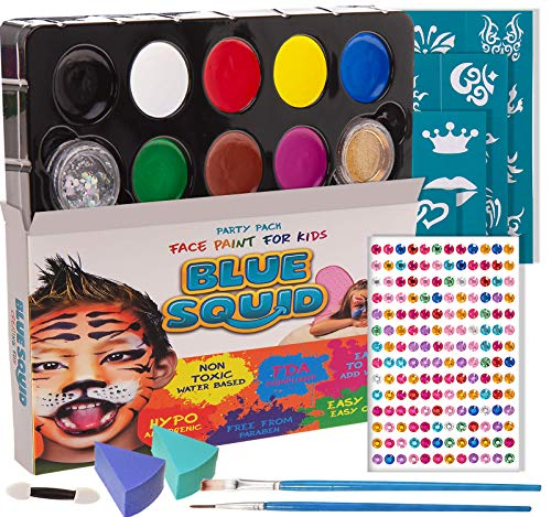 Blue Squid Face Paint for Kids, 193 Pieces, 8 Color, 30 Stencils, Brushes, Gems, Sponges & Applicator, Best Value Quality Party Pack for Kids, Vibrant Water Based Painting Set Non-Toxic FDA Approved
