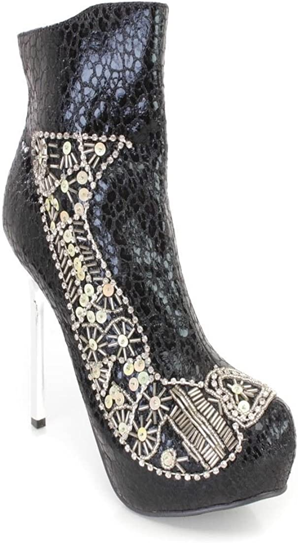 Lot Black Silver Gold Rhinestone Sequin High Heels Booties Faux Leather Platform
