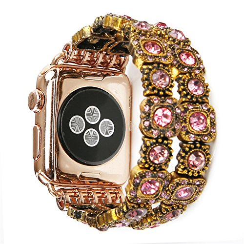 Apple Watch Band 42mm,iWatch Bands 42mm,GEMEK Retro Faux Crystal Agate Stone Bracelet Replacement iWatch Strap Band For Women Girls Like with Handmade Elastic Stretch, iWatch Series 3/2/1(Pink - Nice Apple
