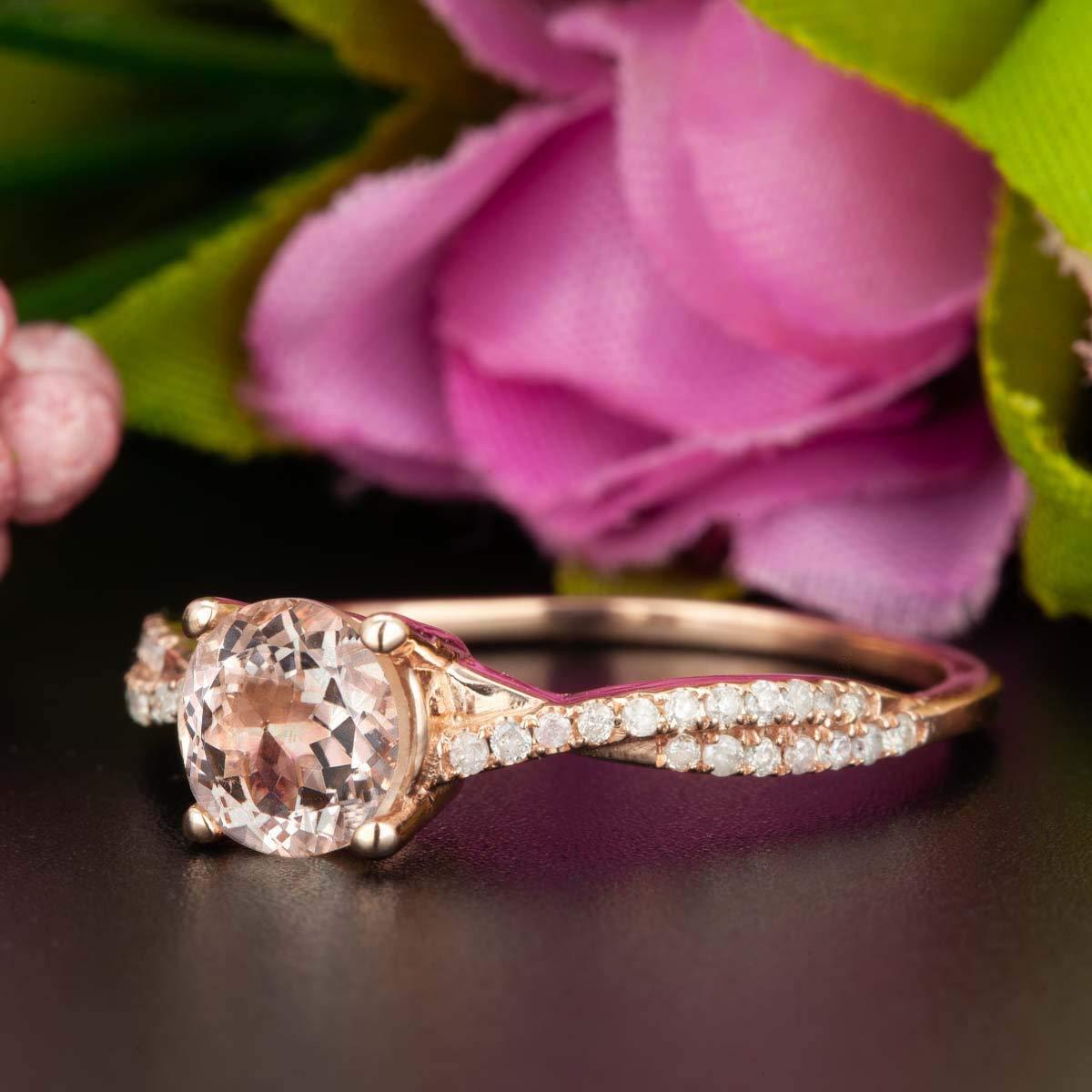 1.25 Carat Round Cut Morganite and Diamond Engagement Ring in Rose Gold Elegant Ring