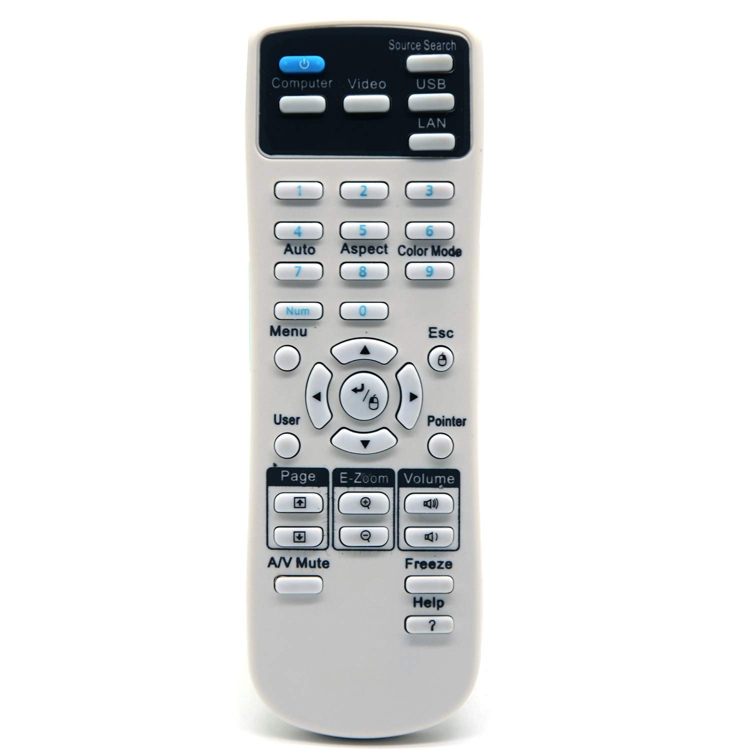 ESolid Replacement Remote Control for Epson 1648806 EX3240 EX5240 EX5250 PRO EX7240 PRO EX9200 PRO VS240 VS340 VS345 PowerLite 1224/1264 /1284 /Home Cinema 1040/640 / 740HD / S31+ /U32+ /W04+ /W32 by ESolid