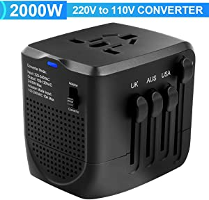Power Converter Adapter Combo, 2000w 220v to 110v Power Converter, European Power Converter and Adapter, Travel Adapter and Converter, for UK, EU, AU, US Over 200 Countries (Black)