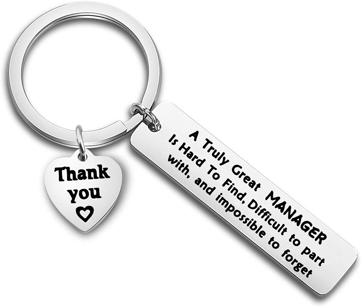 ENSIANTH Manager Gift A Truly Great Manager is Hard to Find Difficult to Part with and Impossible to Forget Keychain Thank You Gift for Management,Leader,Boss