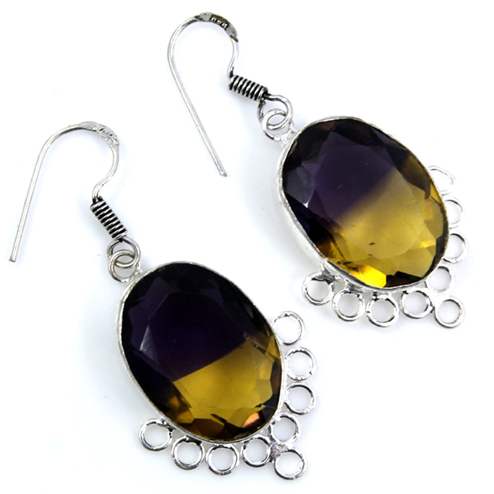 Ametrine Silver Plated Earrings Jewelry 1 1//2 Inches Long By Paragjewels