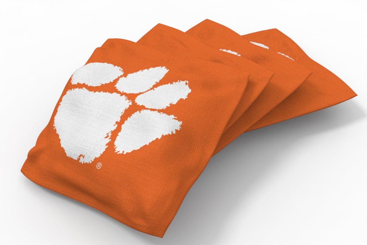 Wild Sports NCAA College Clemson Tigers Orange Authentic Cornhole Bean Bag Set (4 Pack)