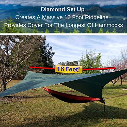 Roman Ventures Rain Fly for Hammock -Light Weight, Diamond-Ripstop Polyester Hammock Rainfly- 2000 PU Waterproof Eno Rain Cover- Rainfly Backpacking Tarp (10 Foot Butterfly Option)
