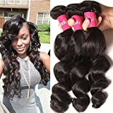 Longqi Brazilian Loose Wave Hair 3 Bundles Human Hair Weave 7a Unprocessed Remy Wavy Hair Extensions (16 18 20inch, Natural Color) For Sale