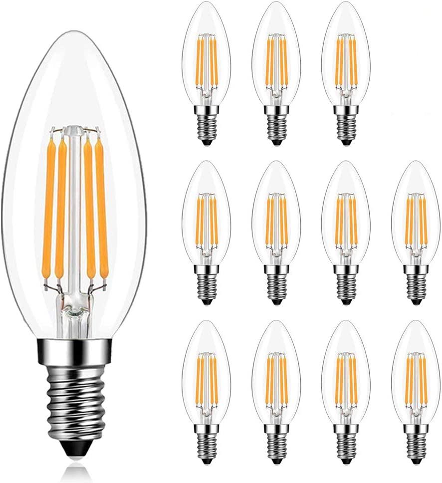 LEDERA E12 Candelabra LED Light Bulb, 40 Watt Equivalent, Warm White 2700K, Filament Clear Glass Candle Lamp for Ceiling Fan Home Decor, Non-Dimmable, Pack of 12