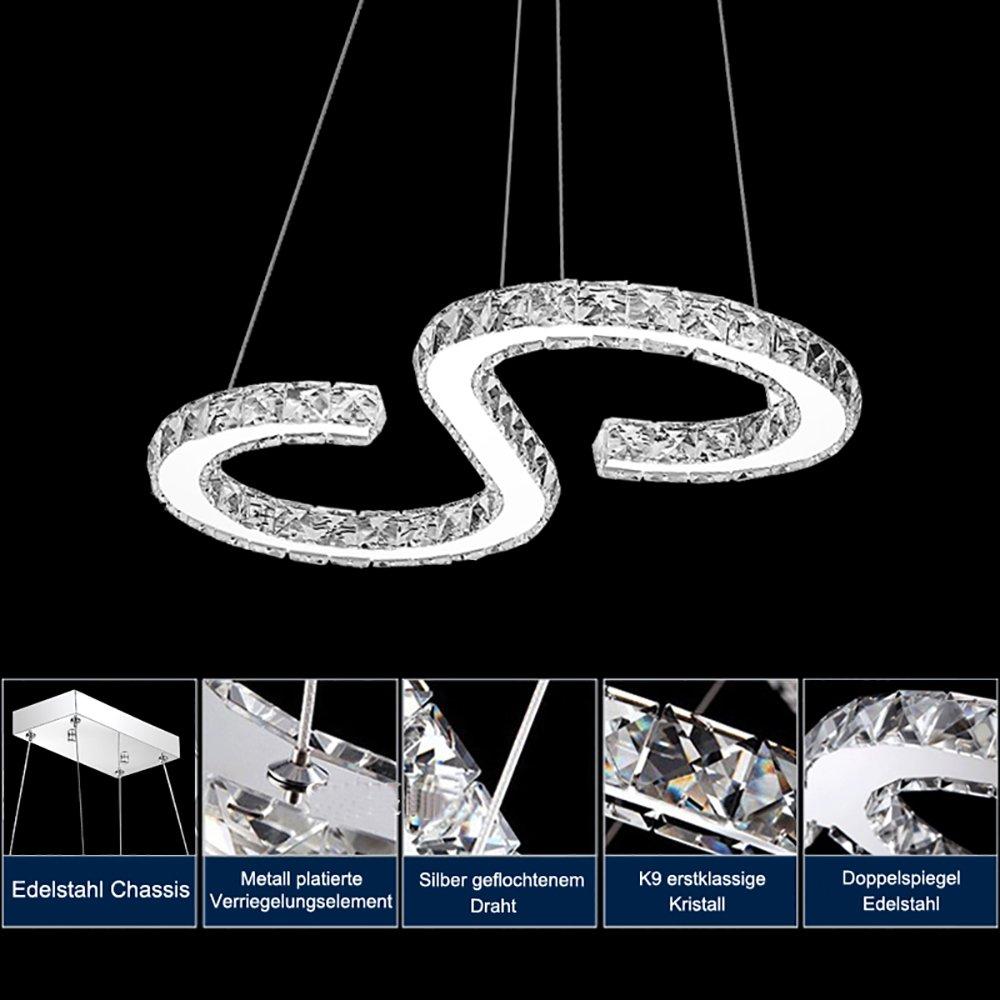 Hengda 36W LED Kristall Pendelleuchte Dimmbar (2700-6500K) Kristall ...