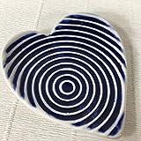 JANECKA Blue Circle Heart 4'' x 4.5'' Soap Dish/Pottery 9th Anniversary Gift