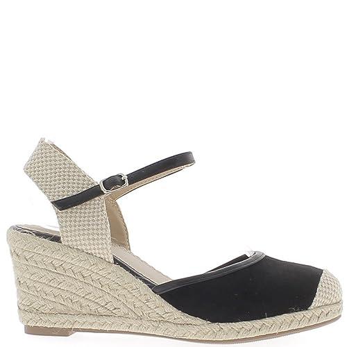 Alpargatas cuña mujer negro 7.5 cm aspecto ante los talones de los - 41: Amazon.es: Zapatos y complementos