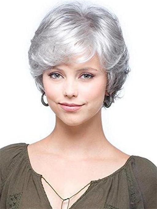 GAIHU Corta peluca rizada gris blanco plateado ondulado ...