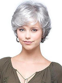 GAIHU Corta peluca rizada gris blanco plateado ondulado natural esponjoso cabello sintético para viejas mujeres en