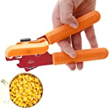 CHICHIC Stainless Steel Manual Can Opener Tin Opener Cans Lid Lifter, Orange