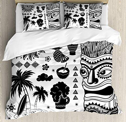 Tiki Bar 4 Piece Full Size Duvet Cover Set, Tribal and Ethnic Composition Palms Pineapple Paradise Vintage Ancient Figure, 4pcs Bedding Set Quilt Cover Bedspread with 2 Pillow Cases, Black White
