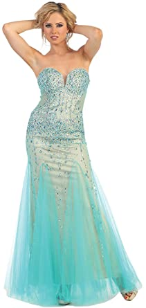 Royal Queen RQ7190 Sweetheart Strapless Prom Dress (4, Mint/Nude)