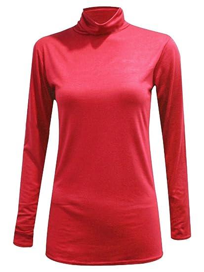 Polo para Mujer de Manga Larga con Cuello Alto elástico Jersey Cuello Alto suéter tamaño 34-52: Amazon.es: Ropa y accesorios