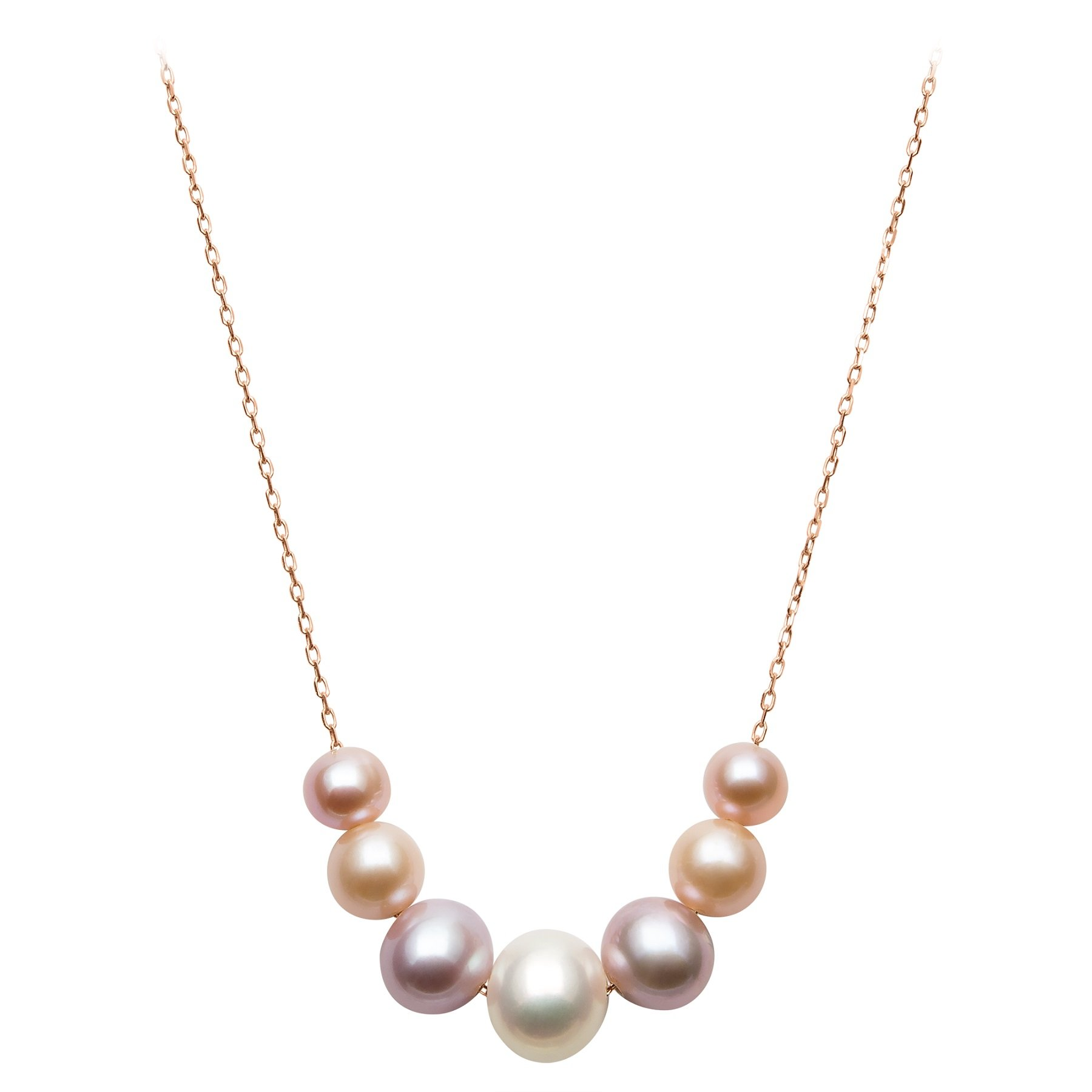 14k Rose Gold 6-9.5mm Multi-Colored Pink Cultured Freshwater Pearl Chain Necklace, 18''