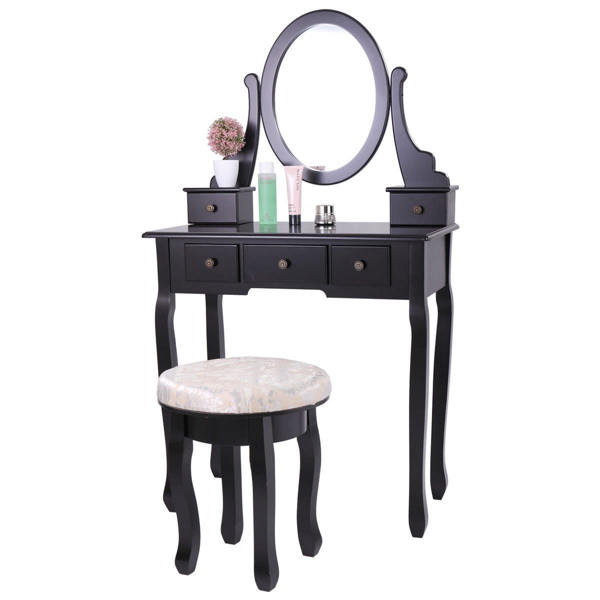 Tobbi Vanity Mirror Table Set in Black Finish Home Furniture Make up Desk Oval Mirror Table with Stool