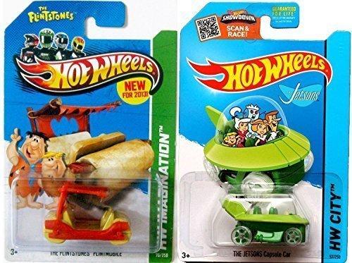 Hot Wheels Imagination Animated Flintstones Flintmobile #70 & Jetsons #57 Capsule Car Tooned car set IN CASES 2015 ()
