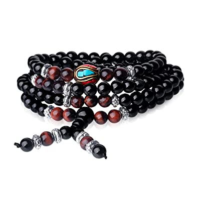 COAI 108 Mala Beads Obsidian Stones Mens Womens Beaded Wrap Bracelet Neckalce HLgsPFg64