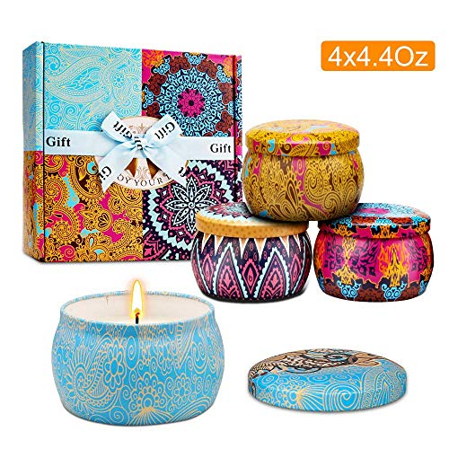 (YMing Scented Candles, Fresh Spring, Lavender, Lemon,Mediterranean Fig,Natural Soy Wax Portable Travel Tin Candle,Set Gift of 4)