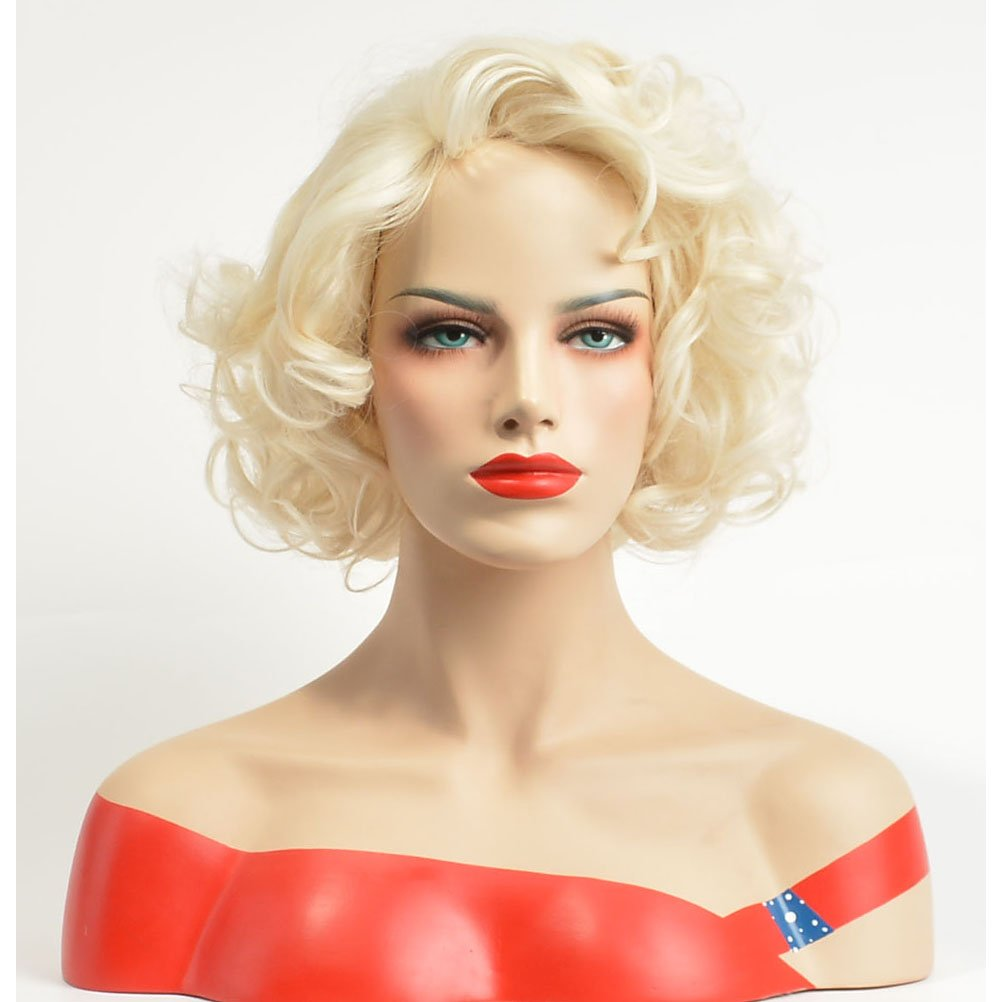 BERON Short Curly Wig Natural Wavy Wigs for Cosplay Costume Party Come with Wig Cap (Blonde)