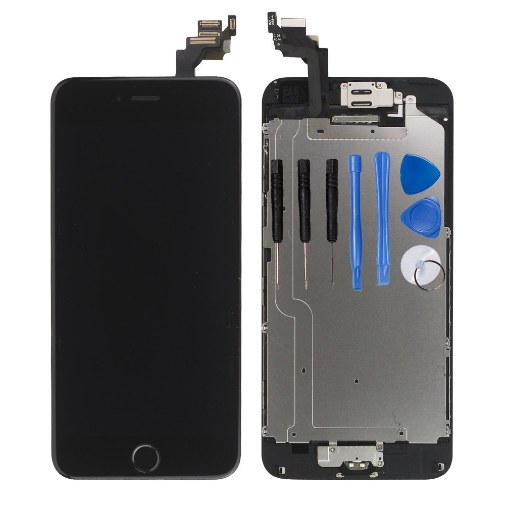 for iPhone 6 Digitizer Screen Replacement Black - Ayake 4.7'' Full LCD Display Assembly with Home Button, Front Facing Camera, Earpiece Speaker Pre Assembled and Repair Tool Kits by Ayake (Image #1)