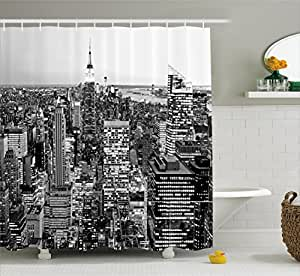 Ambesonne New York Shower Curtain, Panorama of Manhattan High Buildings of City Famous Monument USA Black and White Photo, Fabric Bathroom Decor Set with Hooks, 70 Inches, Grey
