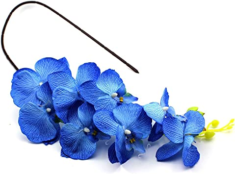 On The Go Gogogo Butterfly Orchid Silk Flower Artificial Phalaenopsis Branch Home Garden D¨¦cor (Blue)