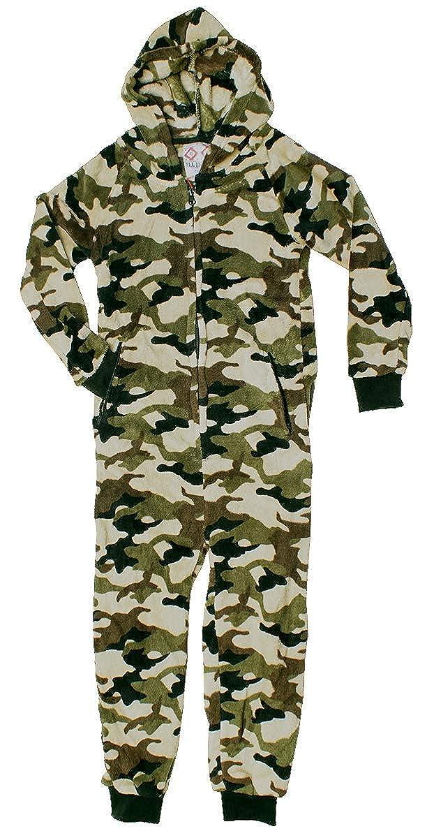 LA Vision International Boys Camouflage Army Luxury Zip Fleece Sleepsuit Hooded Onesie Romper Sizes from 7 to 13 Years RRP /£39.99