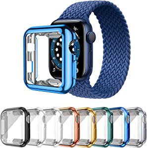 Lobkin apple watch case with HD Clear Ultra-Thin TPU Screen Protector Cover Compatible for Apple Watch Series 2 and Apple Watch Series 3 apple watch series 6 SE Smartwatch Case [For Men Color ] (42mm)