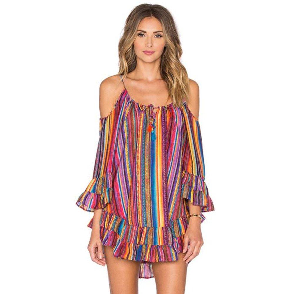 AmyDong Women\'s Dress, Plus Size Summer Rainbow Print Beach Dress ...