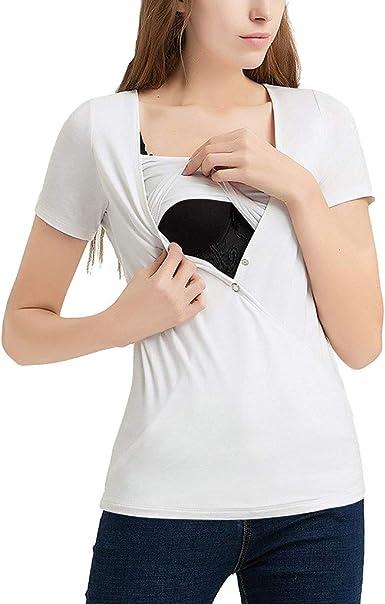 Mitlfuny Camiseta de Mujer Maternidad de Doble Capa, premamá Lactancia Blusa sin Manga Camisas Las Mujeres de Maternidad de Manga Corta Confort enfermería Remata la Camiseta para la Lactancia Materna: Amazon.es: Ropa