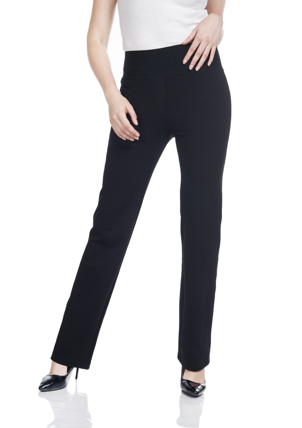 Soshow Women Pull On Stretch Pants Ladies' Casual Bootcut Rayon Trousers