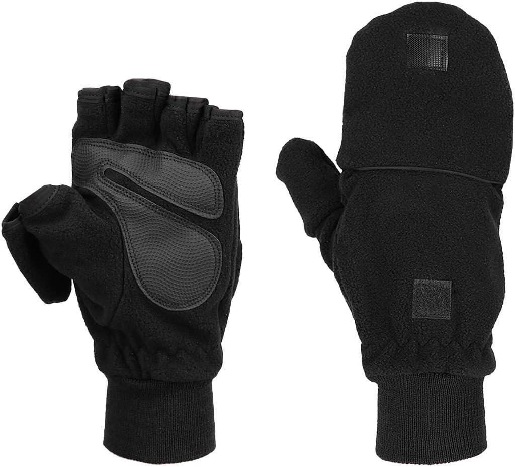 Black KRATARC Winter Warm Gloves Men Women Windproof Mitten Outdoor Running Skiing